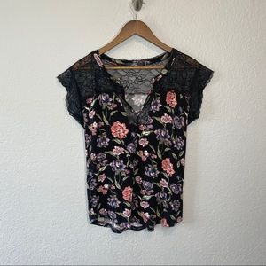 Buckle | Black Floral Top